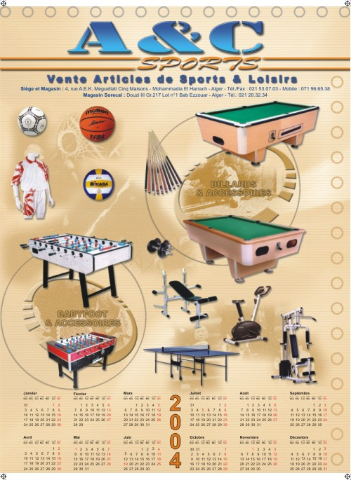 Calendrier poster A&C Sports