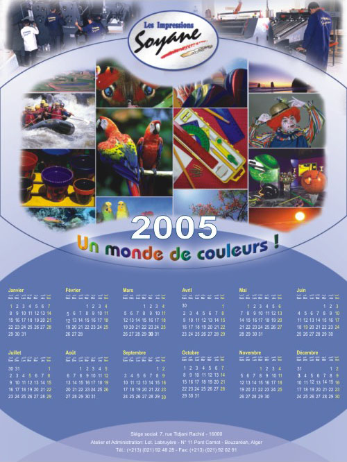 Calendrier poster Soyane